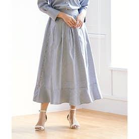 裾切替タックフレアスカート (ストライプ/ブルー)