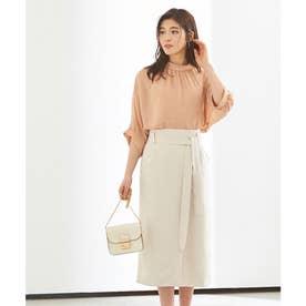 リボン付ラップスカート (オフホワイト)