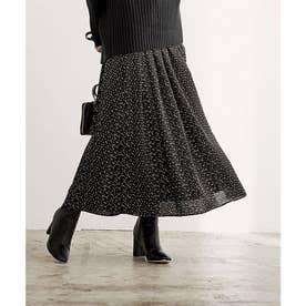 サテンギャザースカート (ドット/ブラック)