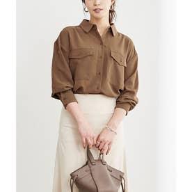 Wポケットシャツ (ブラウン)