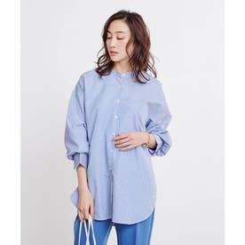 バックタックチュニックシャツ (ストライプ/ブルー)