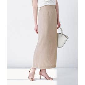リネンライクロングタイトスカート (グレージュ)