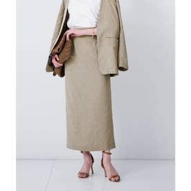 リネンライクロングタイトスカート (モカ)