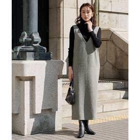 ヘリンボーンジャンパースカート (ブラック)