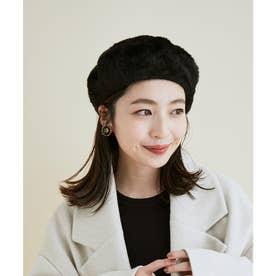 【洗える・抗菌防臭】ふわふわシャギーベレー帽 (ブラック)
