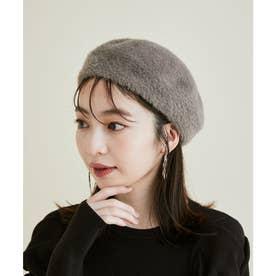 【洗える・抗菌防臭】ふわふわシャギーベレー帽 (グレー系)