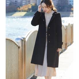 【蓄熱+静電気防止】フレンチウール混ベルテッドフード取り外しノーカラーコート (ブラック(01))