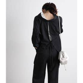 【WEB限定】【セットアップ対応】バックリボンとろみシャツ (ブラック(01))