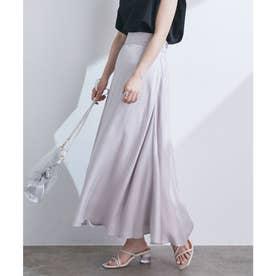 【WEB限定サイズSS,MSサイズ】フレアシャイニースカート (ライトグレー(08))