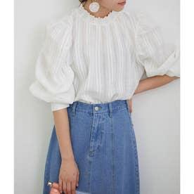 【WEB限定】袖ボリュームカラミ刺繍ブラウス (ホワイト(10))