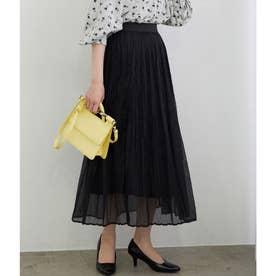 【WEB限定】シアーランダムプリーツスカート (ブラック)