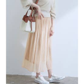 【WEB限定】シアーランダムプリーツスカート (ピンク系)
