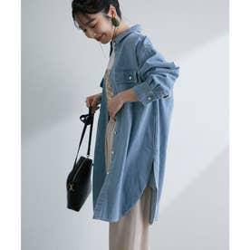 ツイル&デニムビッグシルエットシャツ (ブルー系)