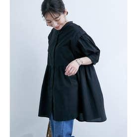 タイプライターギャザー切替半袖チュニック (ブラック(01))