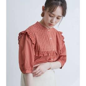 【WEB限定】綿ローンバンドカラーピンタックレースブラウス (オレンジ系(71))