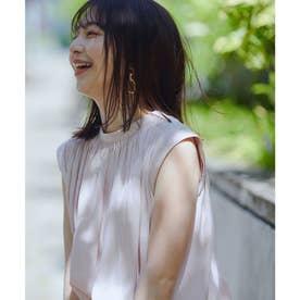 【前後2WAY】サテンギャザーフレンチスリーブブラウス (ピンク(63))
