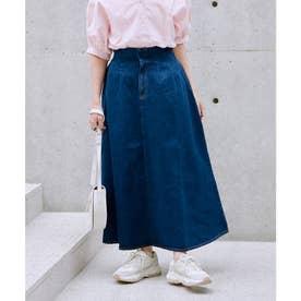 vis‐`a‐vis 【vis‐`a‐vis】デニム&チノハイウエストフレアースカート (ブルー系)