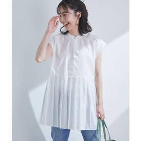 切り替えプリーツフレンチスリーブシャツ (オフホワイト(15))