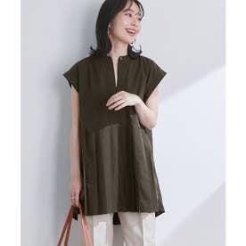切り替えプリーツフレンチスリーブシャツ (カーキ(36))