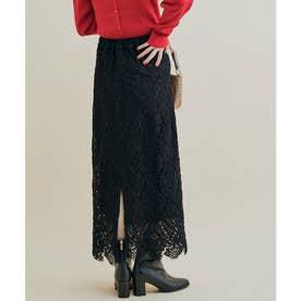 【追加・新色】綺麗だけど楽に履ける、レディな幾何学レーススカート (スミクロ(05))