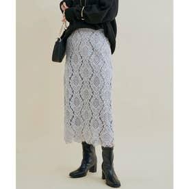 【追加・新色】綺麗だけど楽に履ける、レディな幾何学レーススカート (グレー(07))