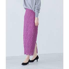 【追加・新色】綺麗だけど楽に履ける、レディな幾何学レーススカート (ラベンダー系(53))