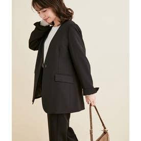 【選べる着丈】【洗える】【セットアップ対応】シワになりにくい美人丈、ノーカラージャケット (ブラック(01))