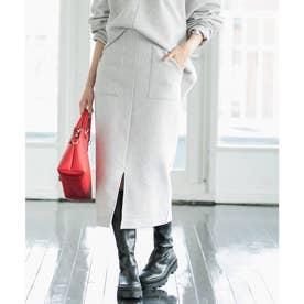【Airy Warm】圧縮ニットソータイトスカート (ライトグレー(08))