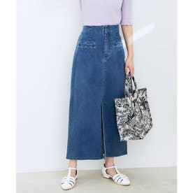 ストレッチで履き心地の良い、ハイウエストタイトスカート (ブルー(44))