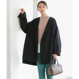 【リバー仕立て】ハーフ丈ノーカラーゆるコート (ブラック(01))