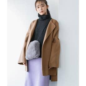 【リバー仕立て】ハーフ丈ノーカラーゆるコート (ベージュ系(28))