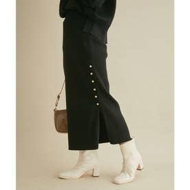 【セットアップ対応】リブ左脇メタルボタンニットタイトスカート (ブラック)