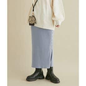 【セットアップ対応】リブ左脇メタルボタンニットタイトスカート (サックス)