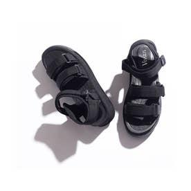 厚底トリプルベルクロスポーツサンダル (ブラック)