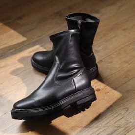 厚底ストレッチショートブーツ (ブラック)