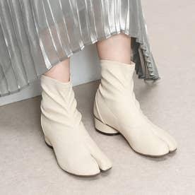 足袋デザインストレッチショートブーツ (アイボリー)