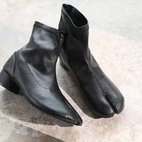 足袋デザインストレッチショートブーツ (ブラック)