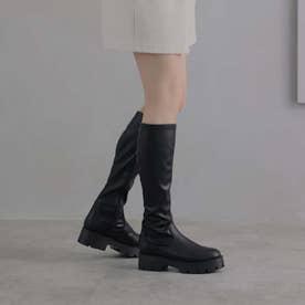 厚底ストレッチロングブーツ (ブラック)