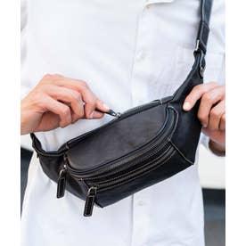 ボディバッグ 本革 メンズ イタリアンレザー ウエストポーチ メンズ ユニセックス 斜め掛け ショルダーバッグ (BLACK)