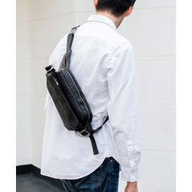 ボディバッグ 本革 メンズ イタリアンレザー ウエストポーチ メンズ 本革 ユニセックス ショルダーバッグ (BLACK)