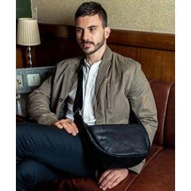 革ショルダーバッグ メンズ  イタリアンレザー 半月型 本革バッグ (BLACK)