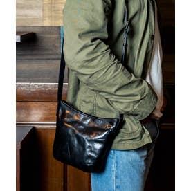 サコッシュ 革 バングラデシュレザー メンズ バッグ 小さめ 縦型 本革バッグ (BLACK)