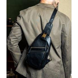 ボディバッグ メンズ 本革 バングラデシュレザー 縦型 革バッグ オイルレザーバッグ (BLACK)