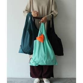 エコバッグ 折りたたみ 簡単5秒 くしゅくしゅ丸めて 巾着バッグ レジバッグ コンビニバッグ (EMERALD)