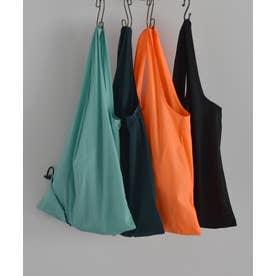 エコバッグ 折りたたみ 簡単5秒 くしゅくしゅ丸めて 巾着バッグ レジバッグ コンビニバッグ (NEONORANGE)