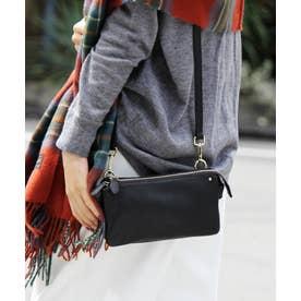 【本革/カウレザー】ショルダーバッグ レディースバッグ ミニバッグ お財布ポシェット 長財布 (ブラック)