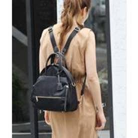 本革×高密度ナイロン レディース 大人 3wayトートバッグ ショルダーバッグ ミニリュック バックパック 通勤バッグ (BLACK)