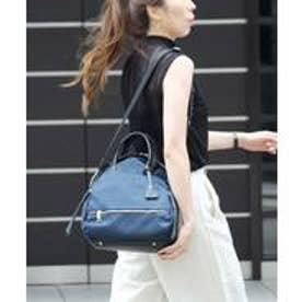 本革×高密度ナイロン レディース 大人 3wayトートバッグ ショルダーバッグ ミニリュック バックパック 通勤バッグ (NAVY)
