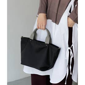 本革×ナイロントートバッグ 弁当 本革ハンドル ミニバッグ 斜めがけ 2wayショルダーバッグ 通勤バッグ (BLACK)