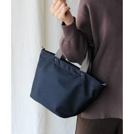 本革×ナイロントートバッグ 弁当 本革ハンドル ミニバッグ 斜めがけ 2wayショルダーバッグ 通勤バッグ (NAVY)